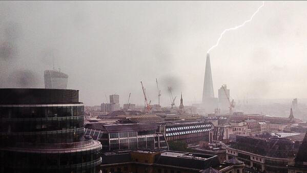 #ShardAttack My colleague took the original pic and then the meme began! #London #Shard #Lightning @aiaworldwide http://t.co/T4TlF1p0QA