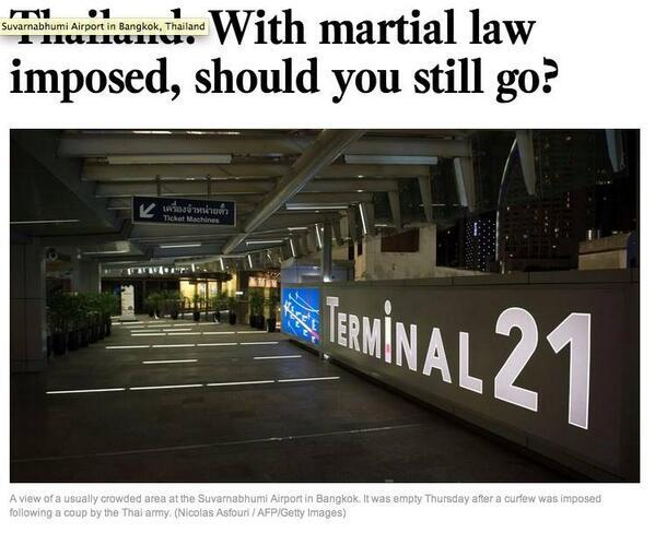 I was just T-shirt shopping there. No coup in sight. RT @2Bangkok: LA Times uses shopping mall photo for BKK airport http://t.co/fKnL4pIo11
