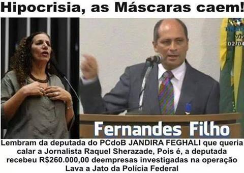 Cai a máscara! A Dep. Jandira Feghali PCdoB, recebeu  R$260.000,00  #LavaJato  #PF http://t.co/2taEGonpwT
