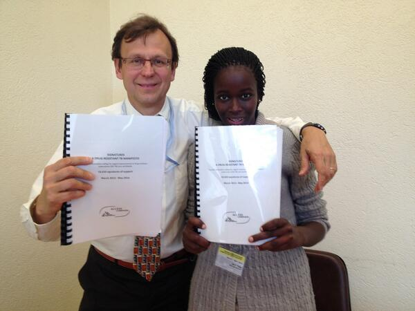 RT @MSF_access: A big moment:@Ptisile hands 55K #TBmanifesto signatures to @M_Raviglione Director, @WHO Global TB Programme #WHA67 http://t.co/lyVGeJM6VY