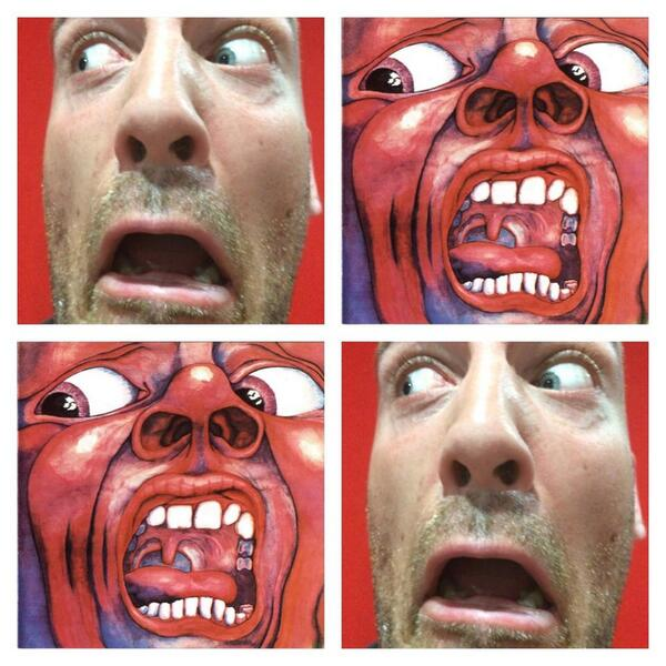 RADIO: Today's classic album cover recreation is the seminal In The Court Of The King Crimson. Hideous!!! Stephen. http://t.co/N7Ns0qMdqH
