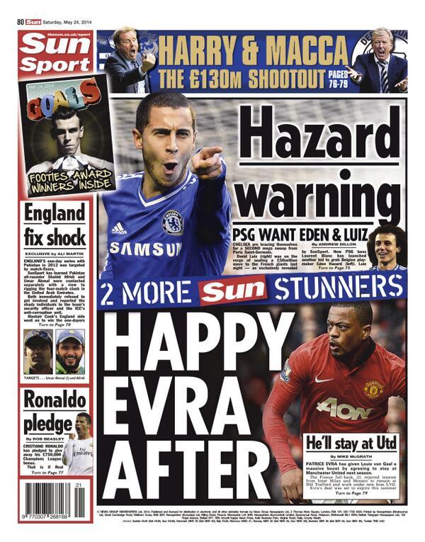 BoWfCs CIAA5skB PSG plan to follow up signing of Chelseas David Luiz with swoop for Eden Hazard [Sun]