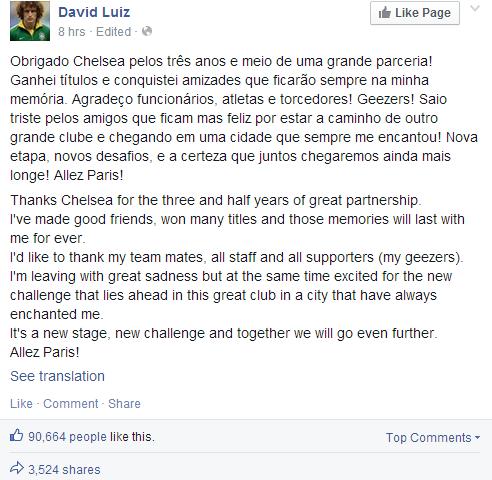 BoY4lS0CEAA7H02 David Luiz thanks and says Goodbye to Chelsea via Twitter & FB ahead of PSG transfer