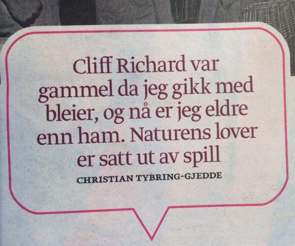 Tybring-Gjedde soleklar vinner i DNs test: Hvem kan si det smarteste on Cliff Richard? http://t.co/GUNpnKPCQe