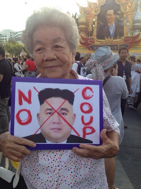 """Here's the granny with the """"North Korean Prayuth"""" pic http://t.co/8Pjqd2OVNo"""