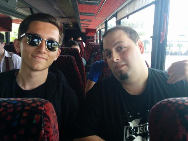 Here's @cowboy and @contrahacks, authors of @gruntjs and @gulpjs, hanging out on the bus. Good #jsconf y'all. http://t.co/xuEST5YDNu