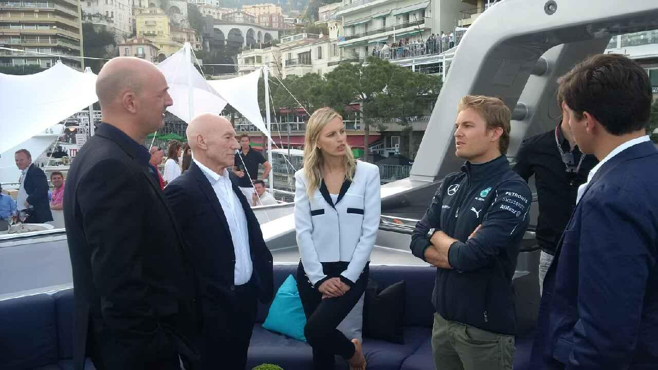 Pole sitter @nico_rosberg at an event tonight with @SirPatStew and @karolinakurkova! No small talk needed... #F1 http://t.co/HyDinNpfXR