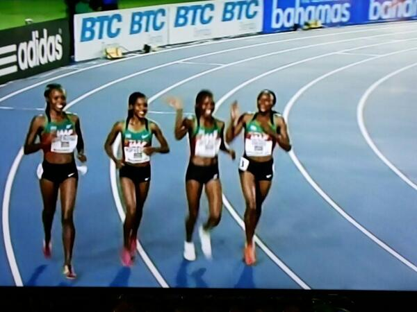Our Golden girls in Bahamas world relay championship doing a lap of honour #KenyansOnTwitter share the positive story http://t.co/6iLR86WIqc