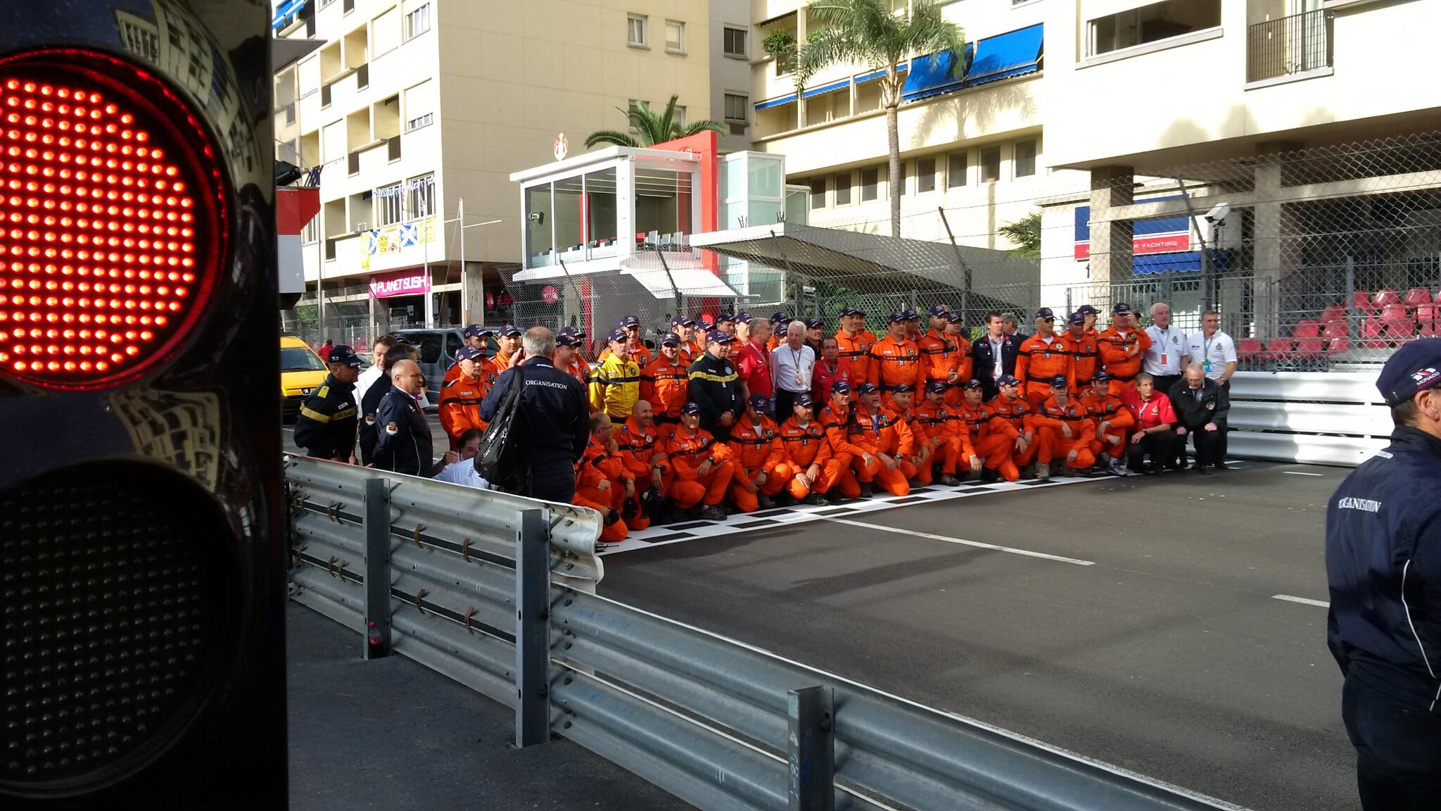 Quick morning team photo of a different kind with Charlie Whiting! #MonacoGP #TheFullMonte http://t.co/DsWHCNfjzk