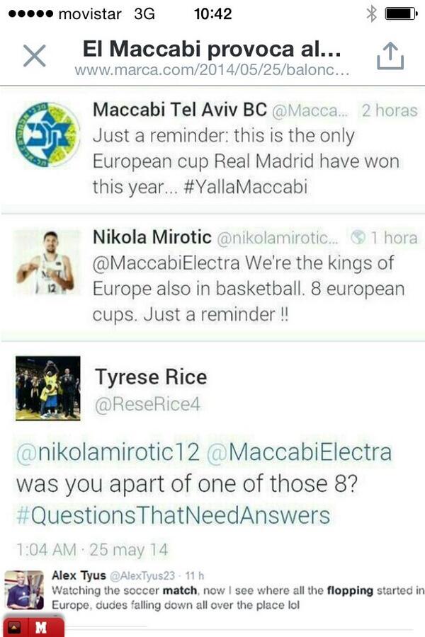 Está claro que Mirotic podía haberse quedado callado y disfrutando del fútbol. Rice le volvió a sacar los colores... http://t.co/MmJ5kUMFob