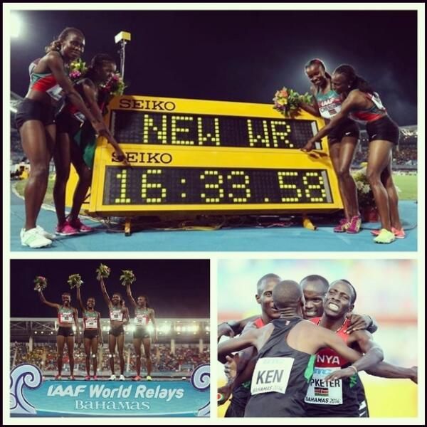Pictures of Day one of IAAF World relays in Bahamas..CR, WR.. #Kenya #HomeOfChampions #Athletics http://t.co/eBDgsLJjyc