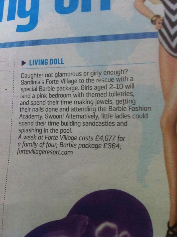 Also, 'Little Ladies'?? RT @pollycurtis: Your daughter not girly enough? Times travel section, shame on you. http://t.co/YnX3qvH7hH