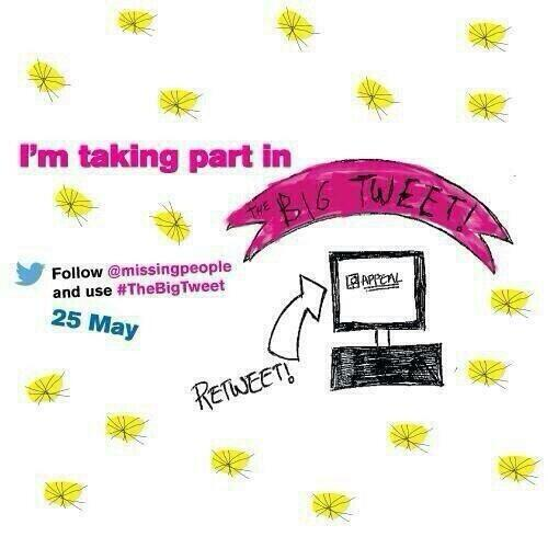 Today is all about @missingpeople and their campaign #TheBigTweet searching for the lost and loved. Xxxxx http://t.co/M9nlYC5zgc