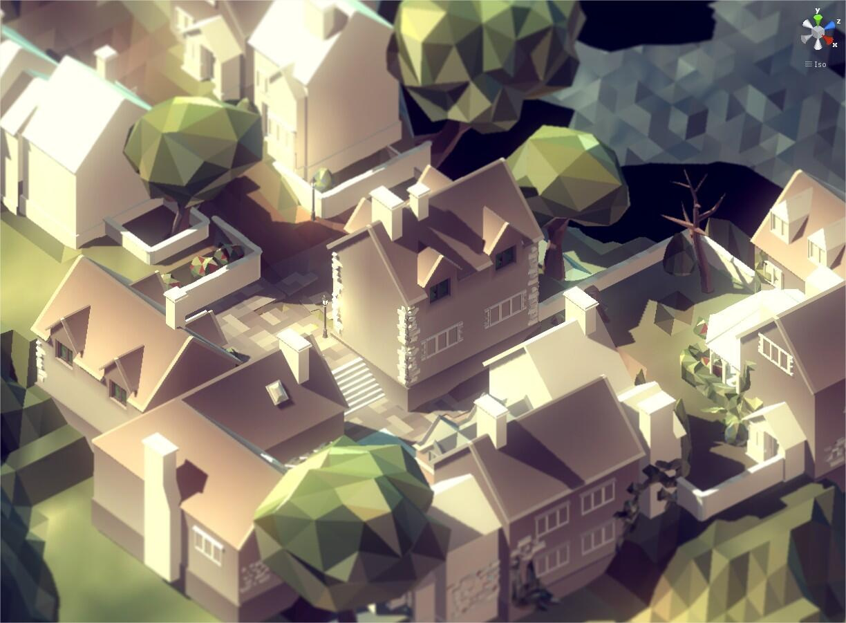 RT @qthe0ry: PolyWorld Village WIP shot with some PostFX. Still coloring those buildings.. #gamedev #indiedev #Unity3D http://t.co/BRW6SOf1UE