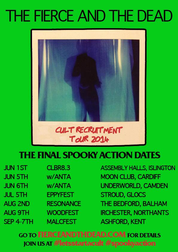These are our final dates for a while. Off to write album 3. So if you want to see us - get involved. #spookyaction http://t.co/O904wUp7jL