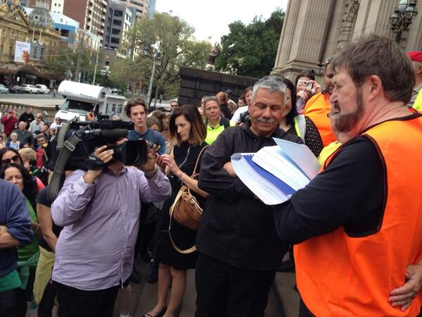 Derryn hinch on steps of vic parliament handing over ...