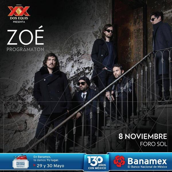 .@zoetheband llegará el próximo 8 de noviembre al escenario del Foro Sol. Preventa Banamex: 29 y 30 de mayo. http://t.co/fPbpdB29Tt