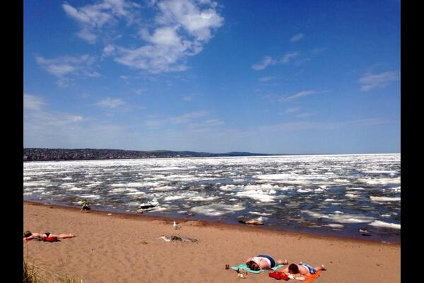 #OnlyinMN RT @RogerForDuluth: Sunbathing with ice on the big lake. #onlyinDuluth http://t.co/3mDkte7NTo