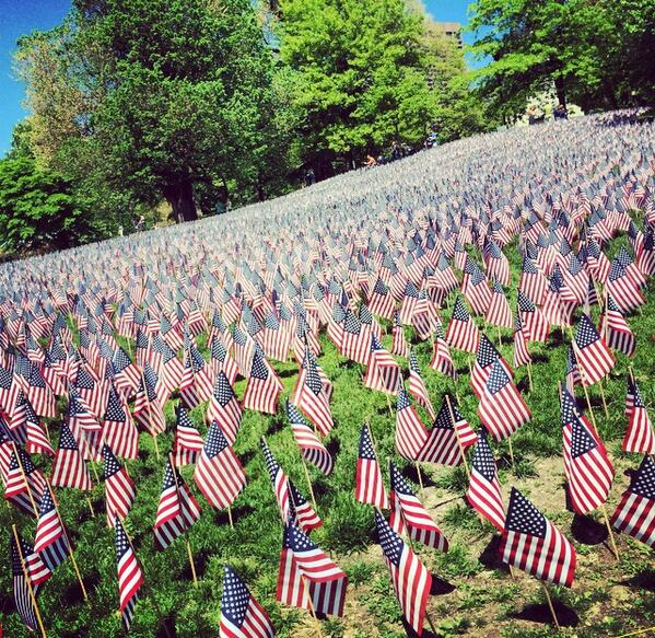 Freedom doesn't come free. Happy Memorial Day! At Flag Garden in Boston. http://t.co/4r78pagM8N