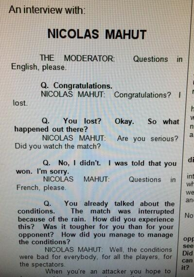 This is hilarious. Don't ask questions if you haven't seen the match!!! (h/t @espnprim) #FrenchOpen http://t.co/kuluxcZGh0