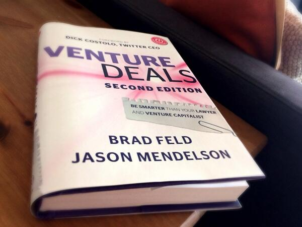 Just finished #VentureDeals. Insightful read for startup founders. Thanks @bfeld @jasonmendelson / @nbanta for rec! http://t.co/TkBhy0kXvm