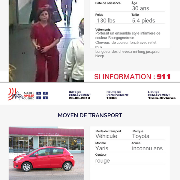 WANTED: Amber Alert after SQ say woman disguised as nurse kidnapped newborn from hospital in Trois Rivieres. #yaris http://t.co/jIxuFJL2Ig
