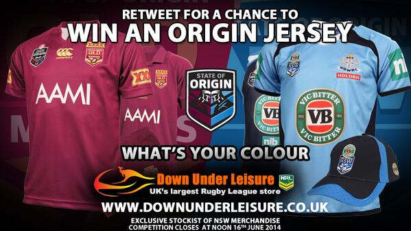 Retweet to be in with a chance to win a State of Origin official jersey supplied by our friends at @DownUnderLeisur http://t.co/LmHSoLMnk1