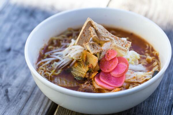 Kimchi Pork Ramen w braised pork, fried tofu, kimchi, leeks.  Available at ESK @HITWatx http://t.co/jD95Z45W8P @pqui http://t.co/ROCYBiCwn0