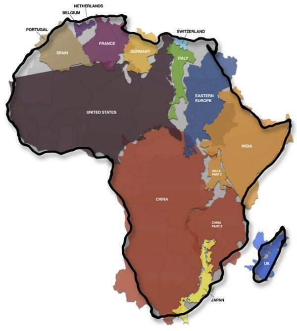 Bet you didn't realise just how huge Africa is. http://t.co/CPys39tEhW