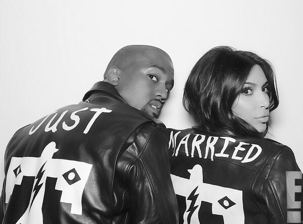@KimKardashian in #blkdnm Leather Jacket 1, customized by #weslang #kimye #justmarried http://t.co/JmljO8IrLl