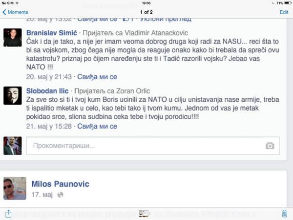 Policija vrlo lako i brzo moze da ustanovi ko je Slobodan ilic koji preti mojoj porodici. Ocekujem reakciju.  http://t.co/SaZiMswHDo