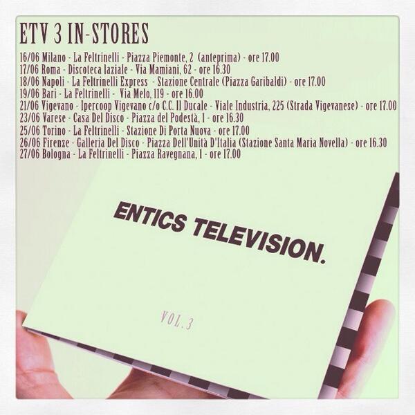 Entics Television Vol.3 In-Stores #entics #etv3 #17giugno #aggiornamento http://t.co/vj3WzPaJZL