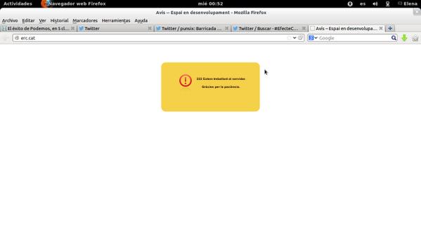Web de #ERC caída a las 00.53,hace unos minutos estaba defaceada en apoyo a #CanVies #EfecteCanVies #canviesnoestoca http://t.co/XxtJEGqIg9