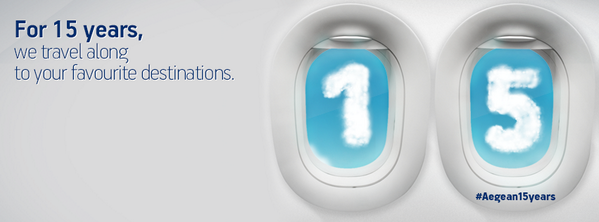 Celebrating 15 years of travel with a day full of gifts & surprises! Happy #Aegean15years http://t.co/8TYRUvoTIu