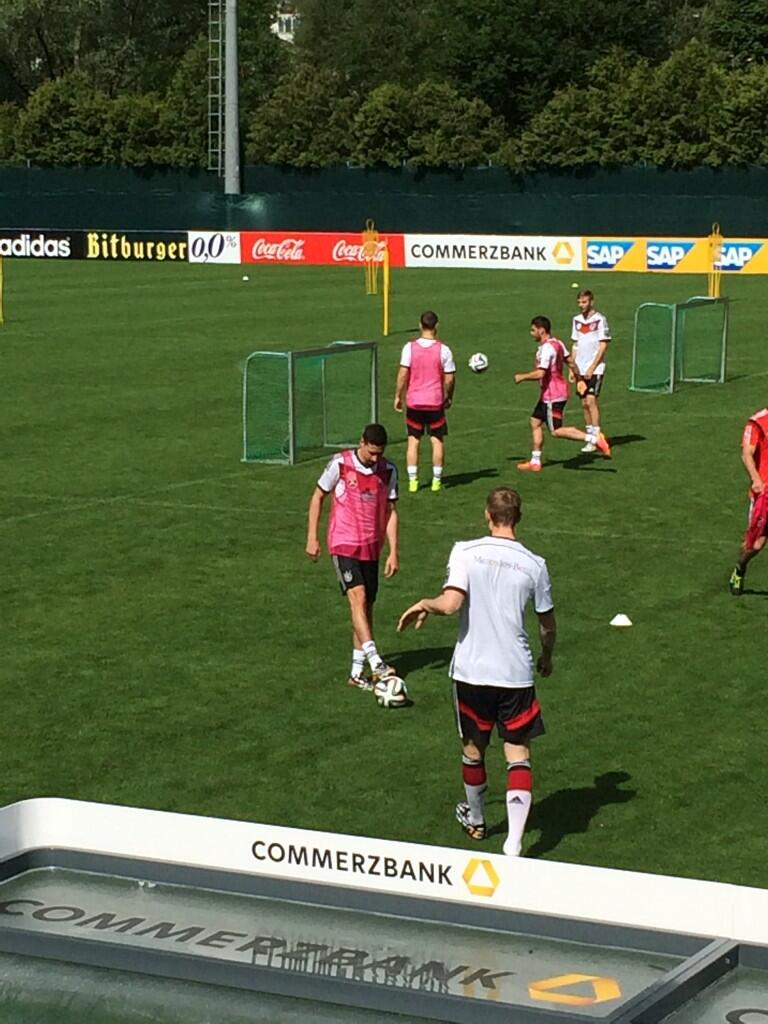Julian Draxler & Benedikt Höwedes pictured back at Germany training just hours after Mercedes F1 car accident