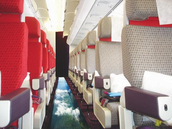 Glass floored plane from Virgin Atlantic (World's First-Ever Glass-Bottomed Plane)  Via @GoogleFacts http://t.co/37X0l5SJiu