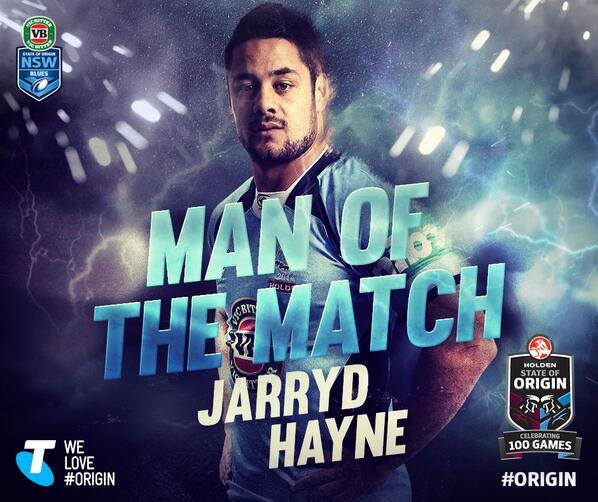 Congrats to @jarrydhayne_1 on his man of the match performance! #uptheblues #origin http://t.co/eJXXTmckaA