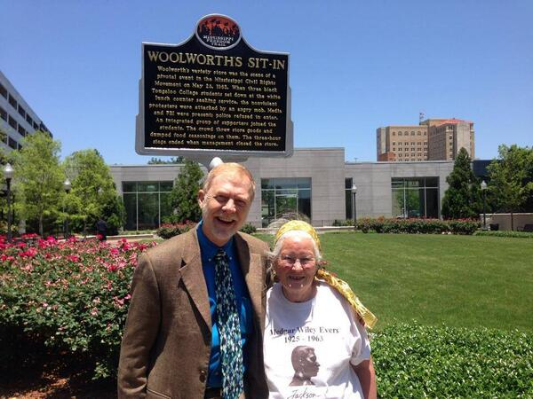 Photo Of Me With Joan Mulholland At Historical Sign Commemorating Woolworths Sit In Jackson