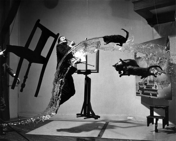 Salvador Dali in 'Dali Atomicus' by Philippe Halsman. It took 28 attempts to get this perfectly-timed shot, 1948. http://t.co/LMJfYxWnn4
