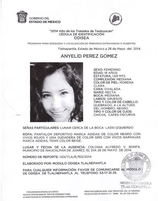 #UVMLomasVerdes y Comunidad #UVM consternada por la desaparición de Anyelid Pérez Gómez. Por favor RT #SolidaridadUVM http://t.co/83z0jS08nb
