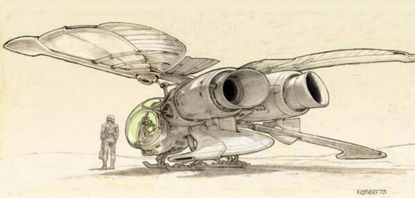 Concept art for Jodorowsky's Dune ornithopter by Ron Cobb  1975. #JodorowskysDune http://t.co/PU4hEjbN7P