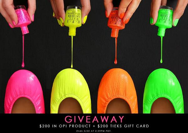 Win $200 in #OPI Products, including new #OPINEONS + a $200 #Tieks GC! Follow @tieks & @OPI_PRODUCTS & RT to win. http://t.co/PE1N01g34c