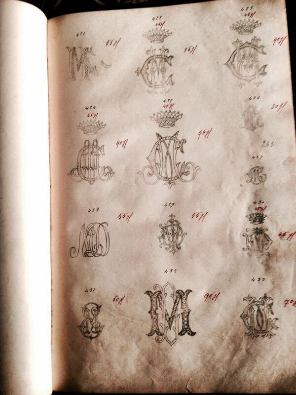 刺繍される方に。刺繍メゾンのモノグラム刺繍注文控え。ハンカチ、ナプキンサイズからシーツサイズまで、100ページ+あります。1901年6月と年入りなのも嬉しい。アンティークフェアin新宿。 http://t.co/IIlljUjTmb