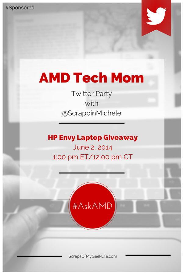 AMD Tech Mom Twitter Party; HP Envy Laptop #Giveaway #AskAMD http://t.co/NS64GOvaKN http://t.co/PmKZTL5BKu