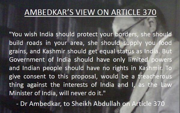 Wonder if people who quote Ambedkar at drop of hat (grammar of anarchy etc) will agree with his views on #370Debate: http://t.co/Gl9o8XPVZQ
