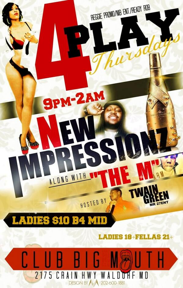 THIS THURSDAY NIGHT LIVE AT CLUB BIG MOUTH WITH @NEWIMPRESSIONZ #CRANKGANG AND #ABM!! WE HAD TO DO IT AGAIN!! http://t.co/YAS4C4mtE6 10