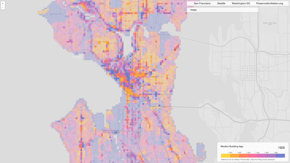An interactive map showing the age of the buildings in Seattle: http://t.co/1EOOWrPrPD http://t.co/UeLKgeoC71
