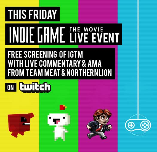 This Friday! IGTM Anniversary screening w/live commentary & AMA @Supermeatboy @NorthernlionLP http://t.co/Wf2sgBm9Ji http://t.co/jBAVx56pz5