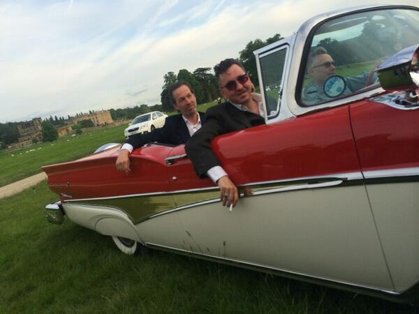 .@RichardHawley arrives at Chatsworth in a red Cadillac for the screening of @LoveIsAllFilm #sheffdocfest http://t.co/PvsgAxuqA9