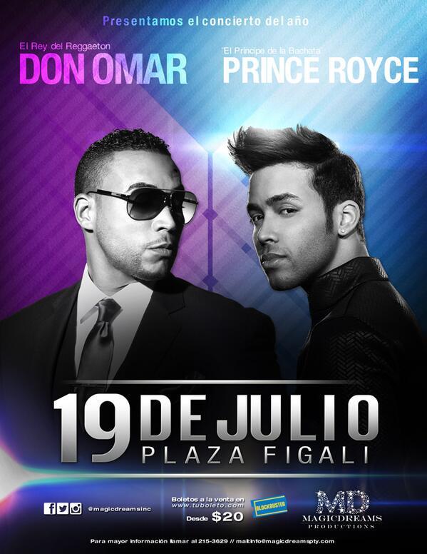 19 de julio de 2014, Plaza Figali, reúne a @DONOMAR  y @PrinceRoyce en #Panama … Una producción de @magicdreamsinc http://t.co/cEDkqyQbGa